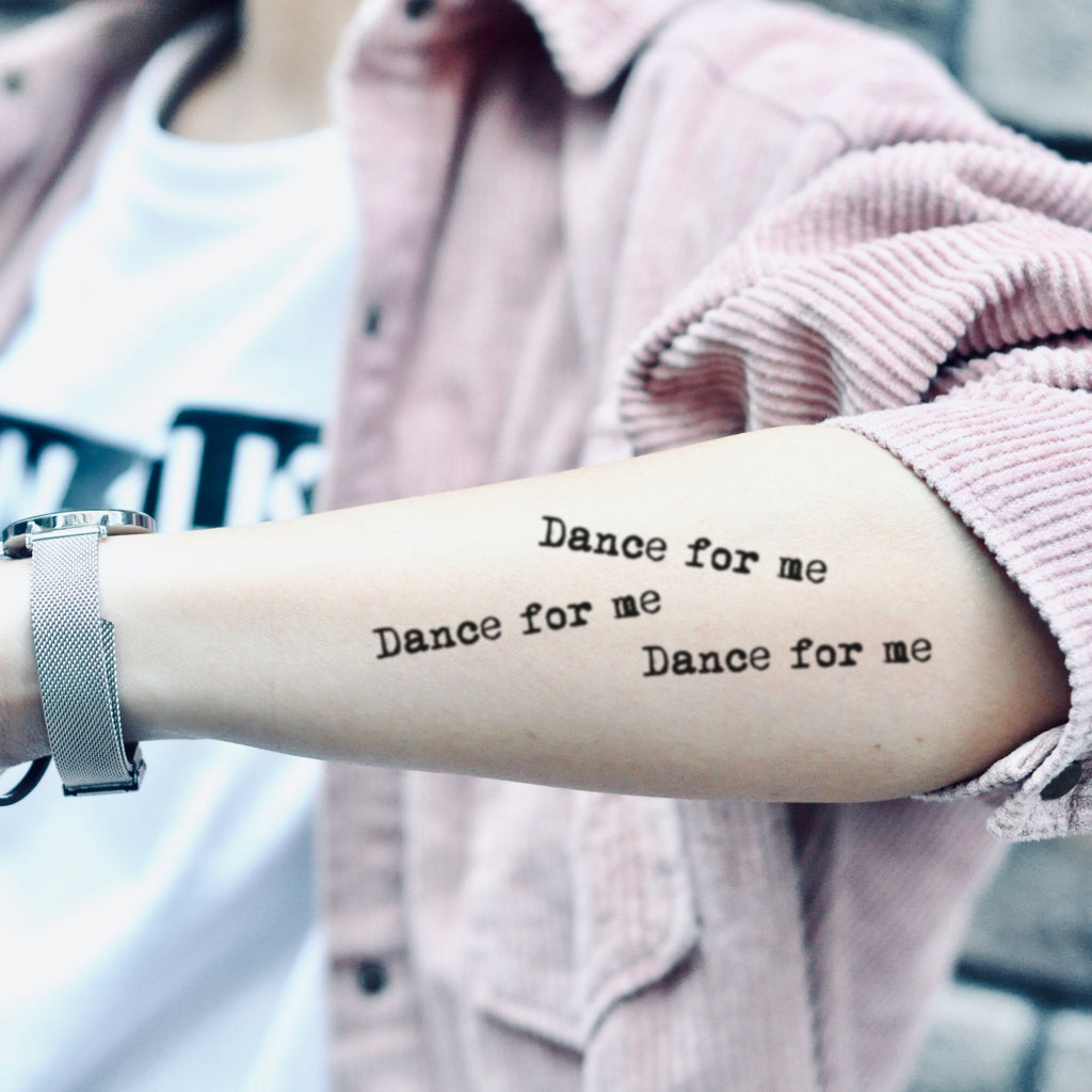 fake small tones and i dance monkey lyrics lettering temporary tattoo sticker design idea on arm