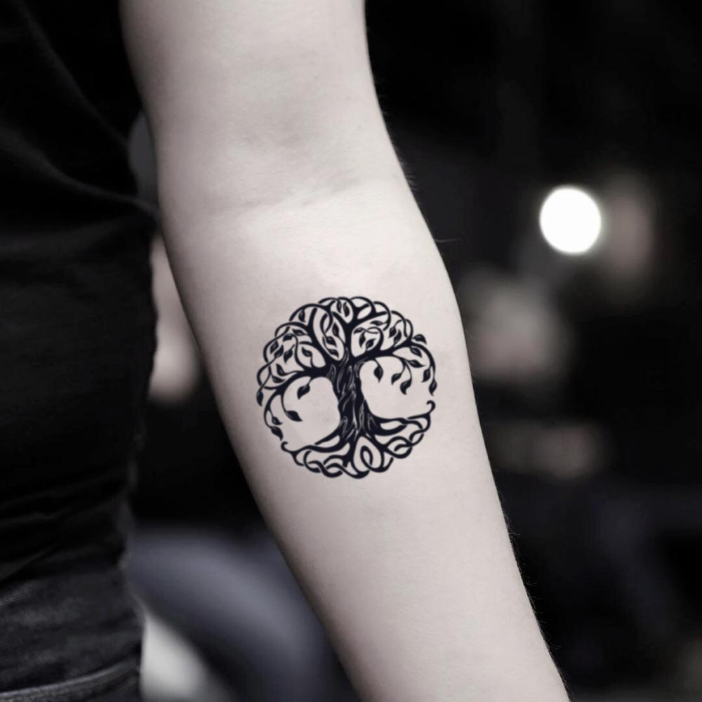 fake small bodhi rowan tree of life meaning mother earth nature temporary tattoo sticker design idea on inner arm