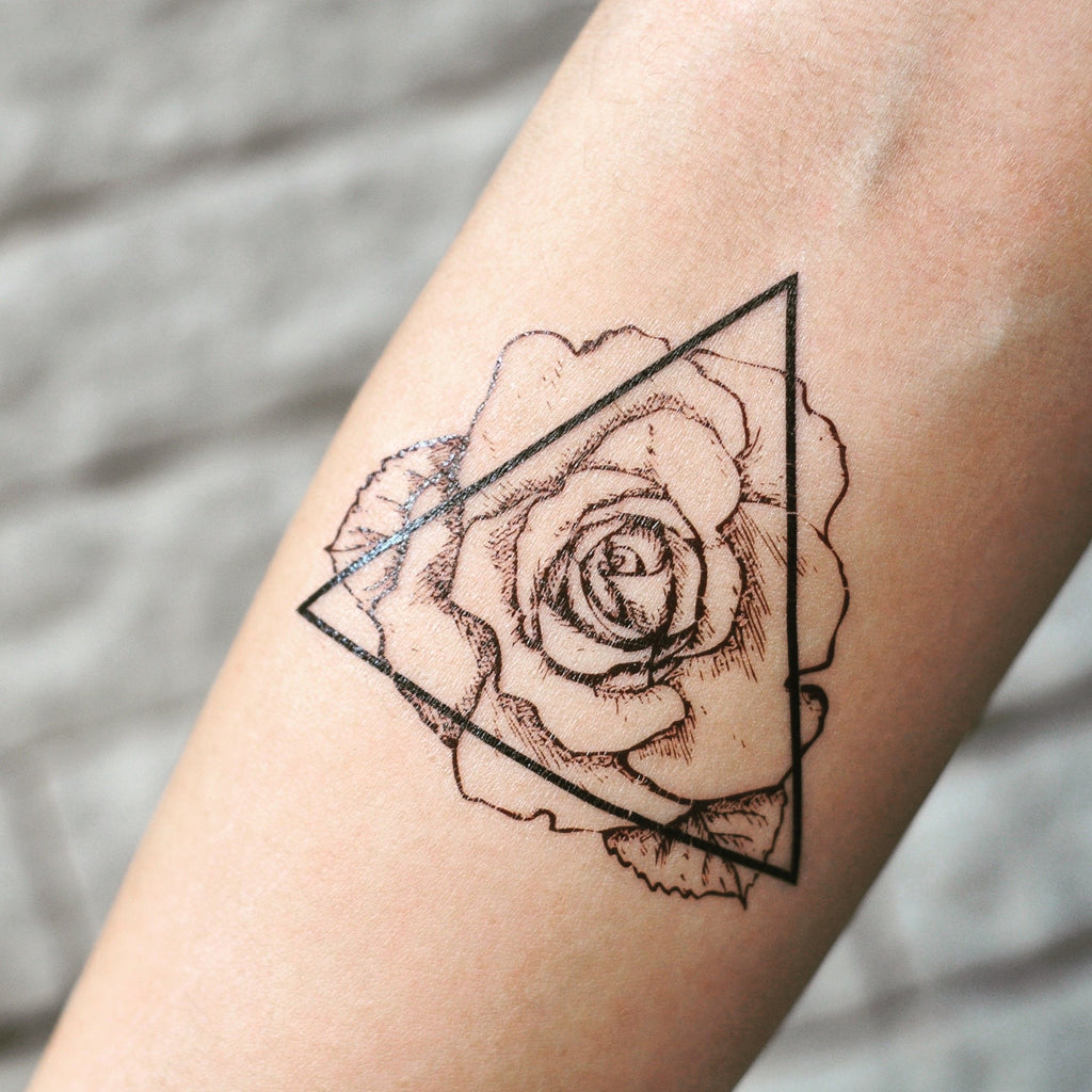 fake small triangle wild rose outline flower temporary tattoo sticker design idea on inner arm