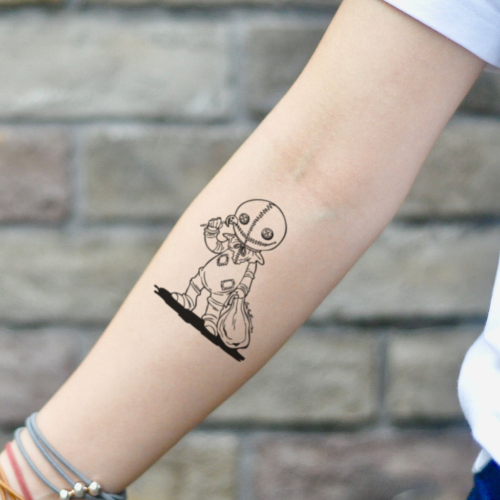fake small trick r treat sam lollipop halloween pumpkin cartoon temporary tattoo sticker design idea on inner arm