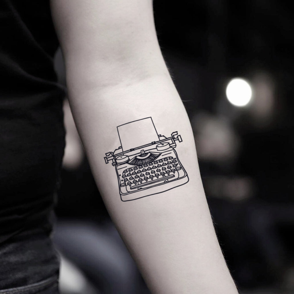 fake small typewriter vintage temporary tattoo sticker design idea on inner arm