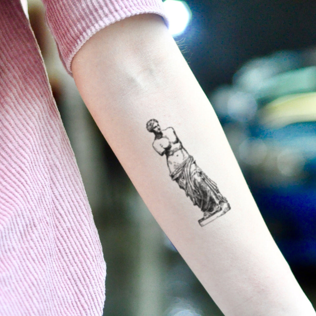 fake small venus de milo ancient greek statue sculpture stencil illustrative temporary tattoo sticker design idea on inner arm