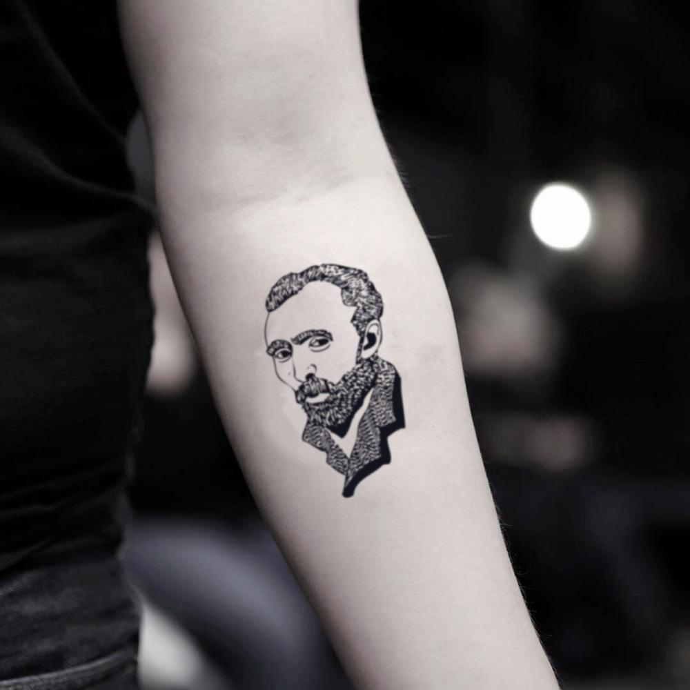 fake small vincent van gogh portrait temporary tattoo sticker design idea on inner arm