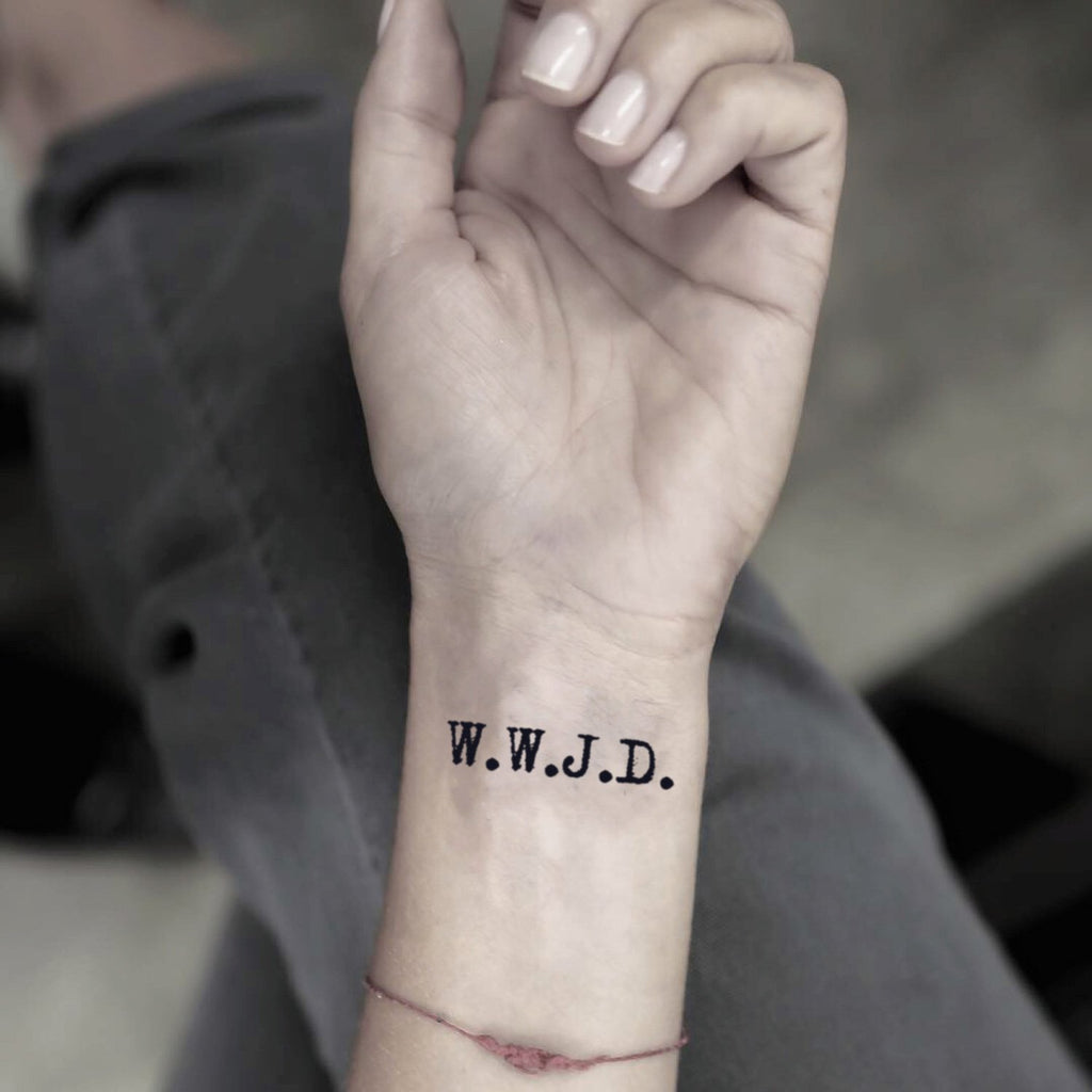 fake small wwjd lettering temporary tattoo sticker design idea on wrist