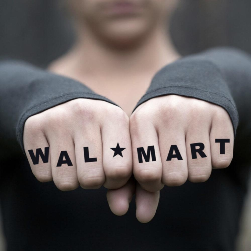 fake small walmart letters lettering temporary tattoo sticker design idea on finger