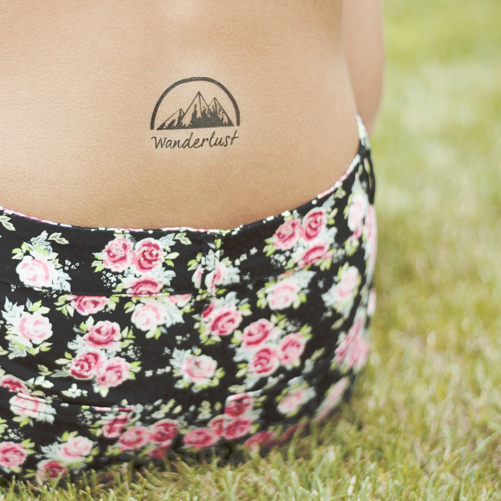 fake small wanderlust grand teton canyon mountain nature temporary tattoo sticker design idea on back