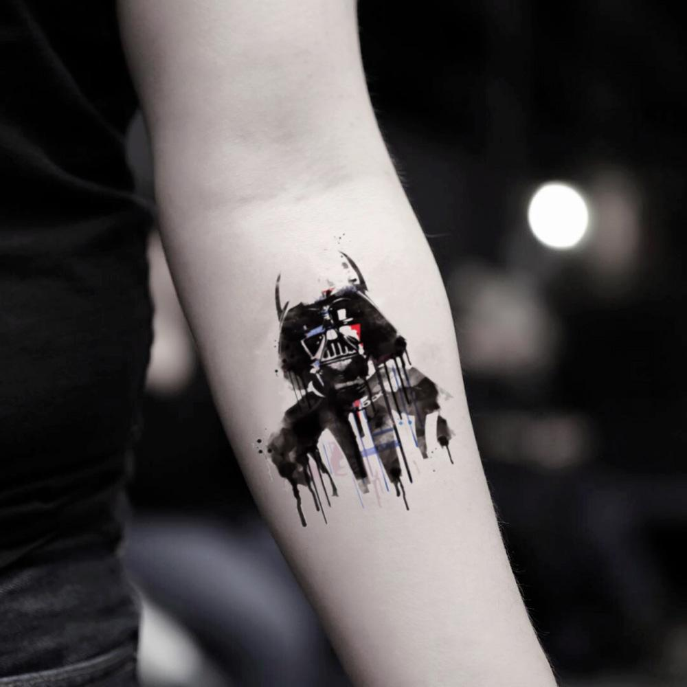 fake small watercolor darth vader illustrative temporary tattoo sticker design idea on inner arm