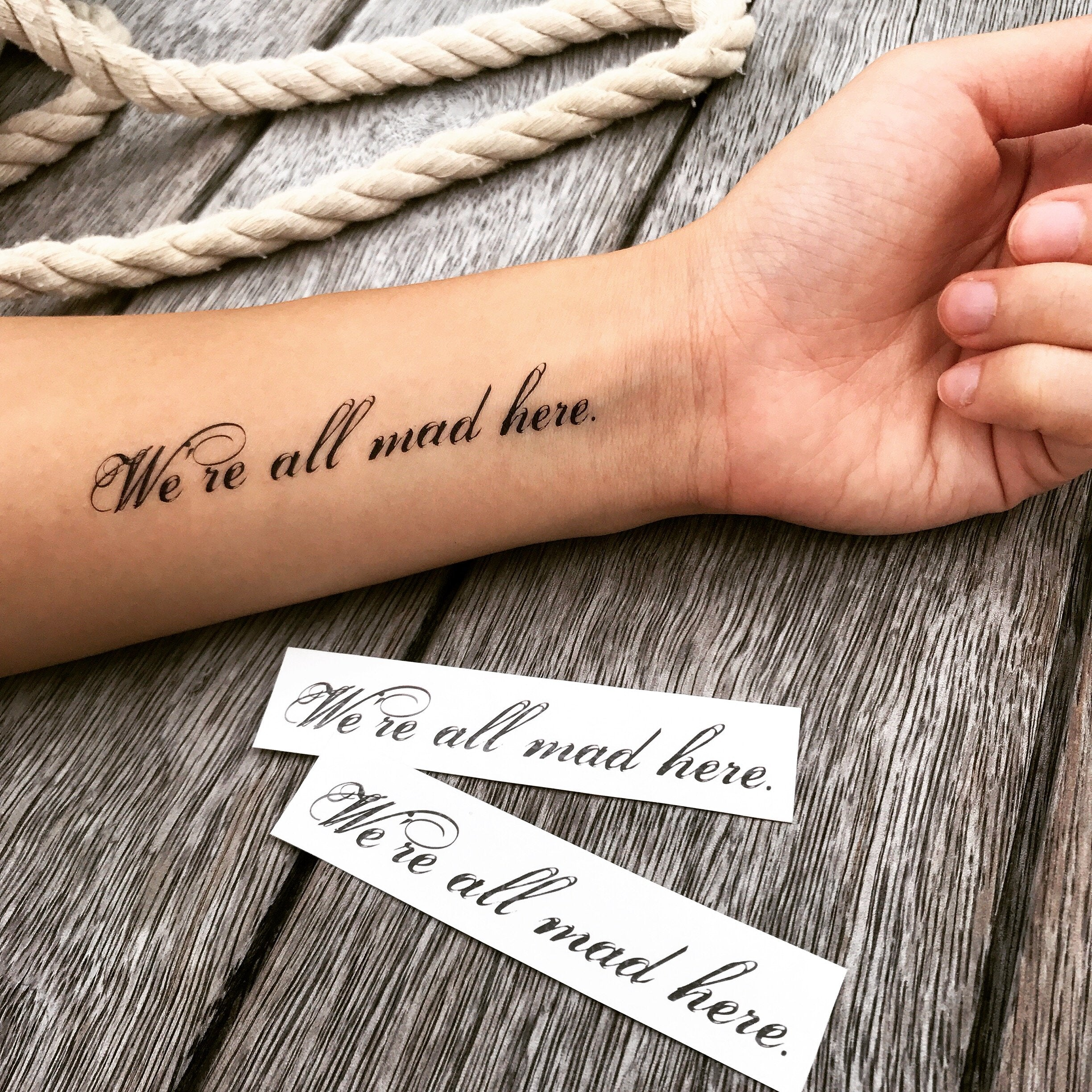 a85f838ab fake small we are all mad here lettering temporary tattoo sticker design  idea on forearm
