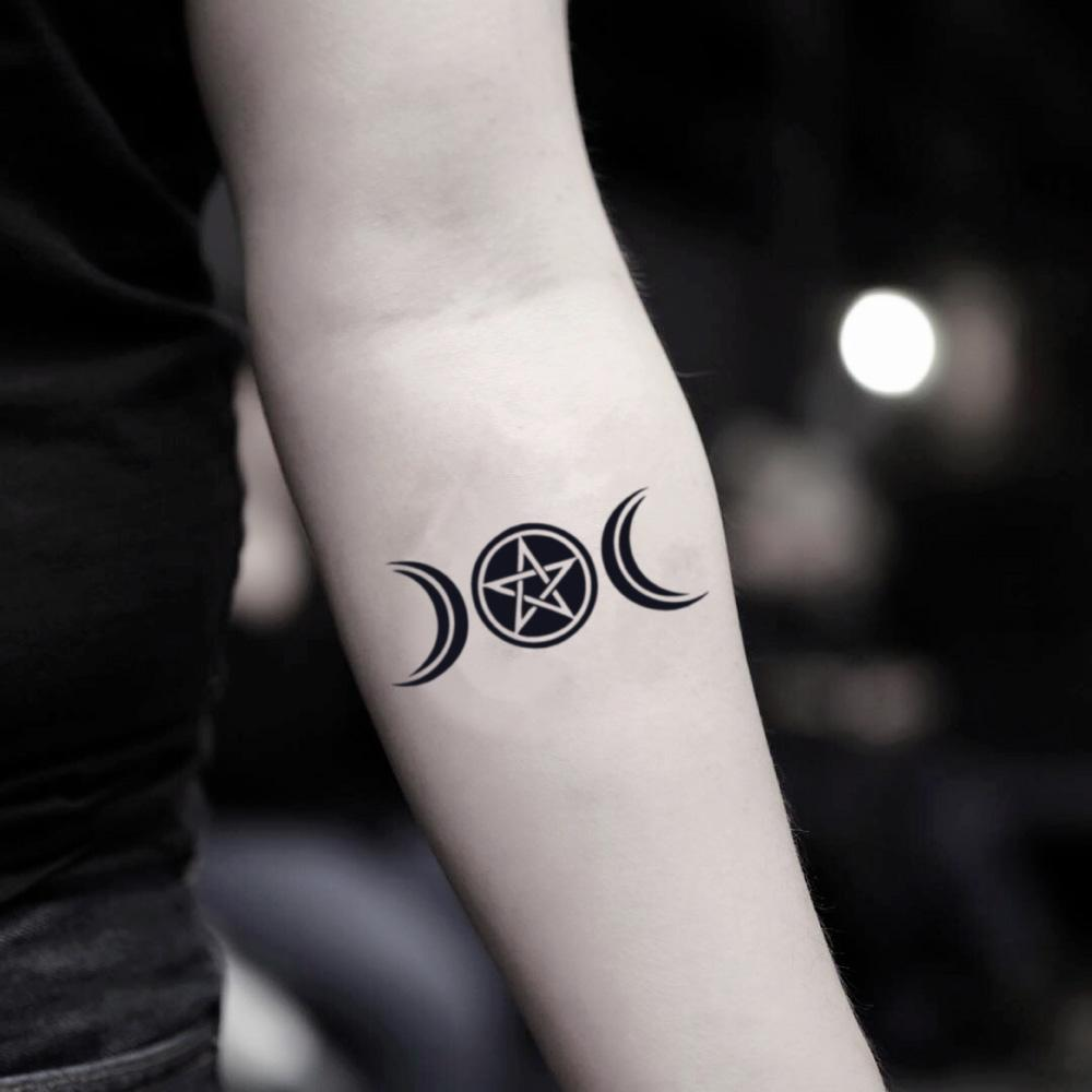 fake small wiccan triple goddess maiden mother crone pagan minimalist temporary tattoo sticker design idea on inner arm