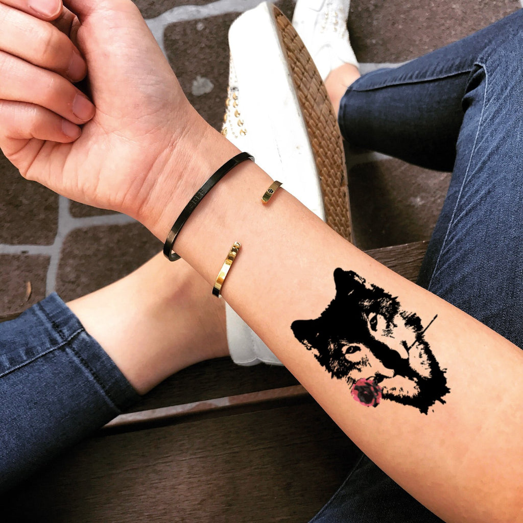 fake small black wolf rose animal temporary tattoo sticker design idea on forearm