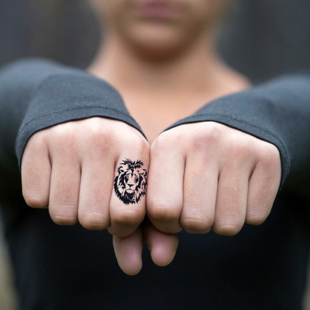 fake tiny cara delevingne lion tiger index finger animal temporary tattoo sticker design idea on finger