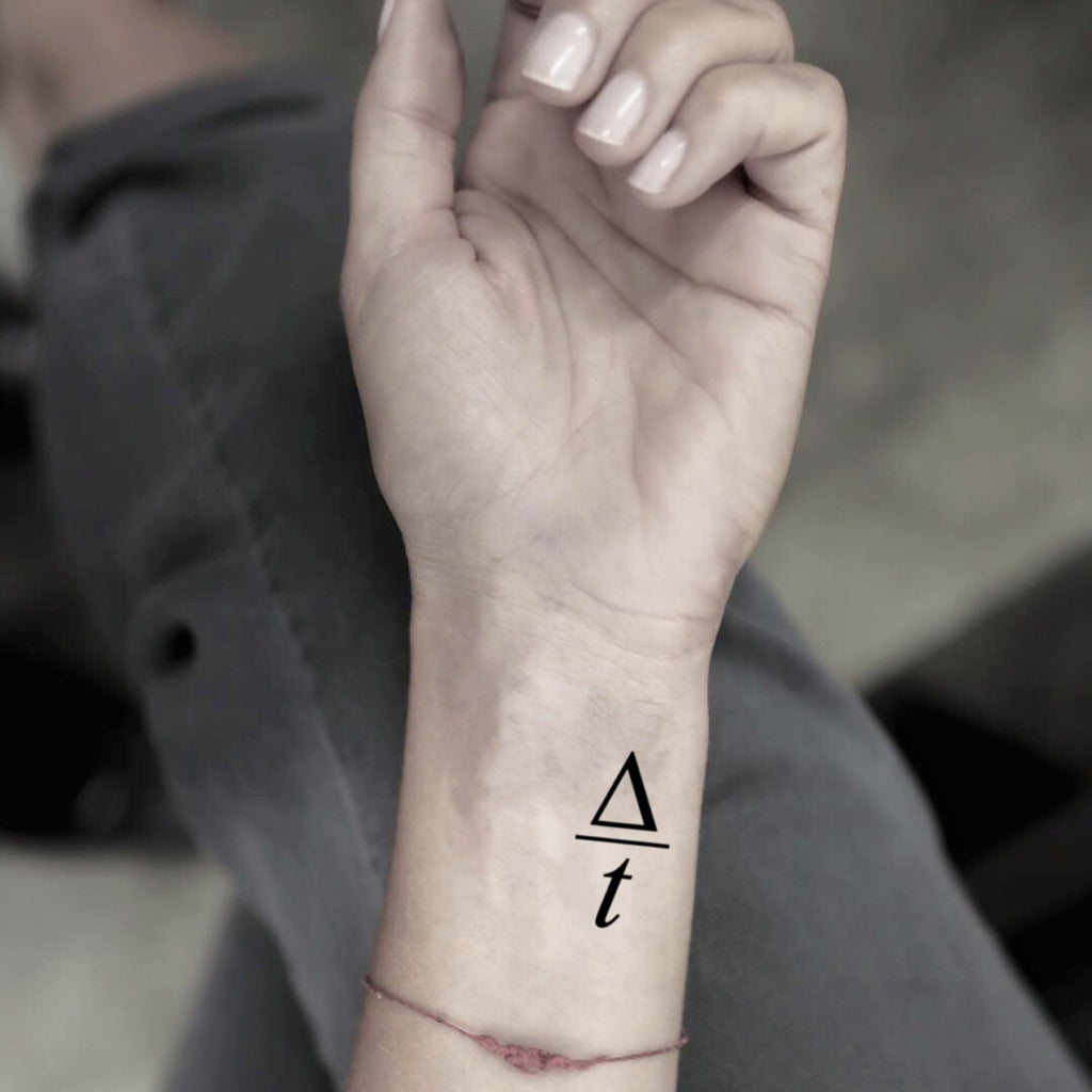 fake tiny change over time math maths minimalist temporary tattoo sticker design idea on wrist