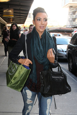 Kim Kardashian in Love Quotes Tassel Scarf in Nile