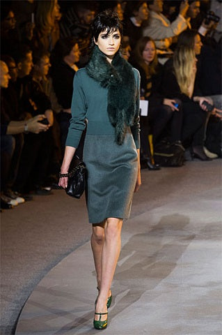 Model Wearing Emerald Green Marc Jacobs Scarf NY Fashion Week 2013