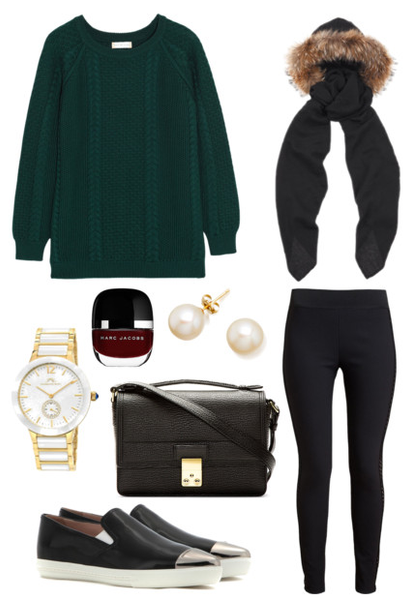 Black Scarf Outfit: Cable Knit Sweater / Leggings / Slip-on Sneakers / Messenger Bag