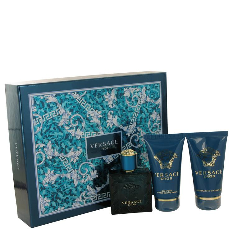 Versace Eros by Versace Gift Set -- 1.7 oz Eau De Toilette Spray + 1.7 Shower Gel + 1.7 oz After Shave Balm for Men - Chaos Fragrances