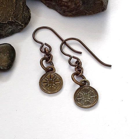 Rocks and Foundry Mid Length Logo Earrings