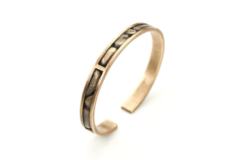 Bronze Channel Set Stone Cuff Bracelet