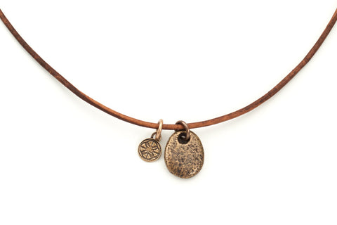 The rough one... bronze beach stone on leather cord with bronze clasp