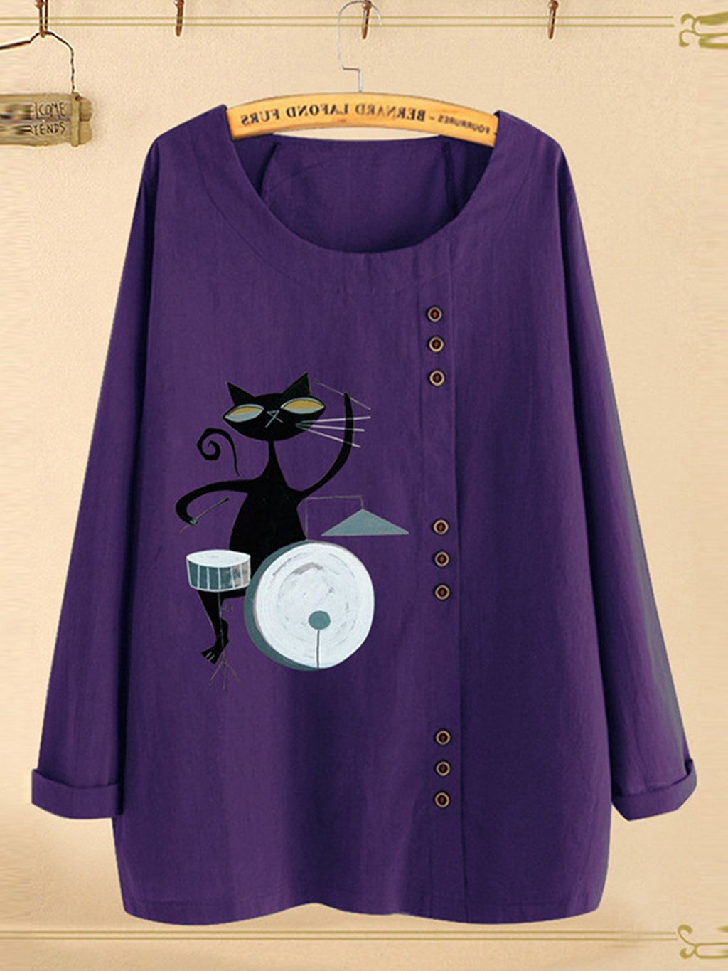 Plus Size Cartoon Kitten Print Long-Sleeved Round Neck Loose Blouse