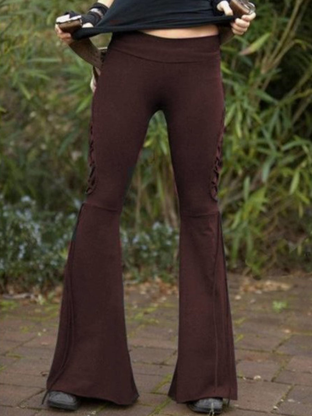 Solid Bell Trousers with High Waist
