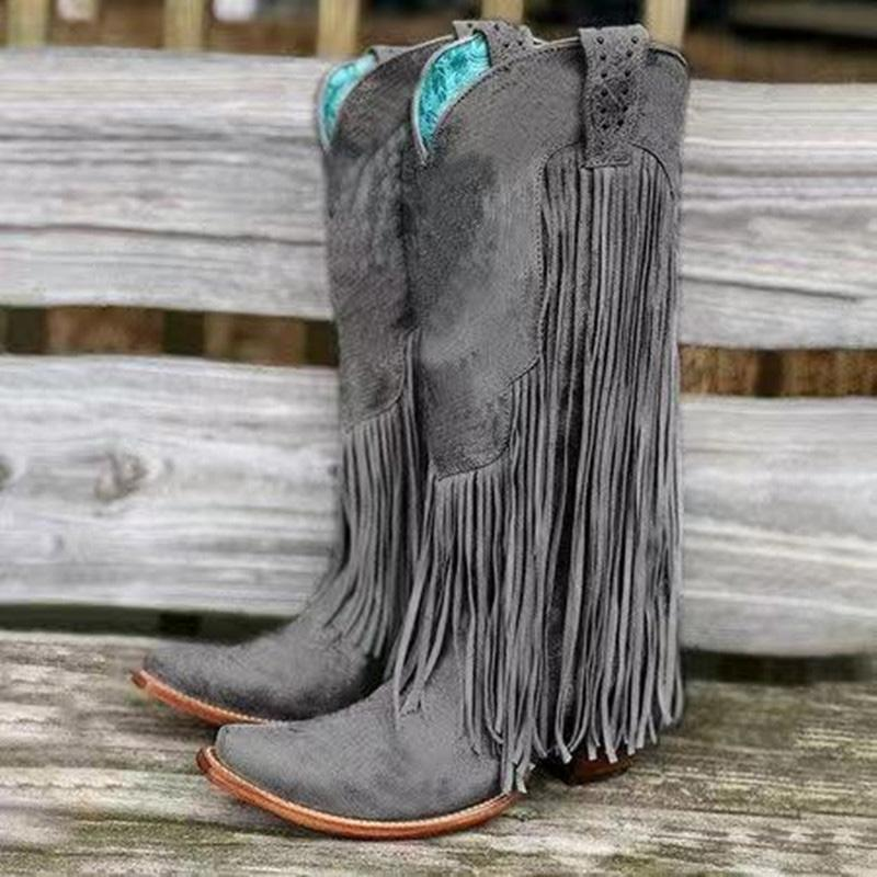 Fringed Solid Knee-high Boots