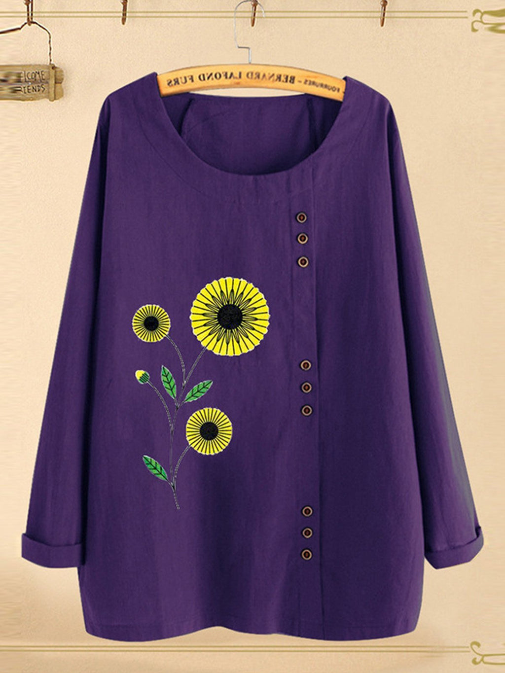 Plus Size Sunflower Print Round Neck Loose Blouse