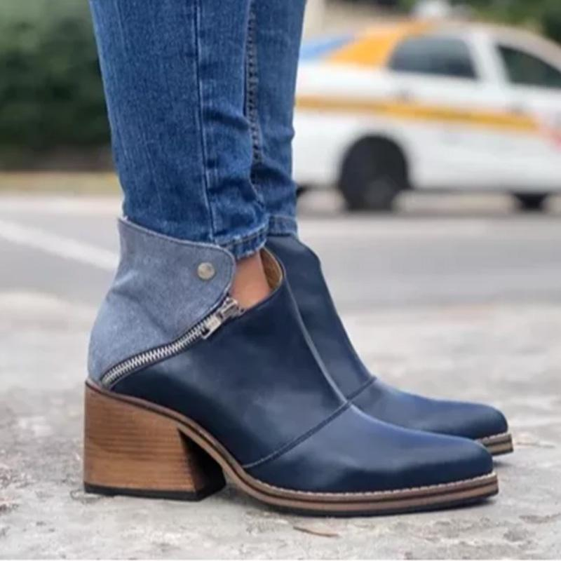 Chunky Heel Split Joint All Seasons Ankle Boots