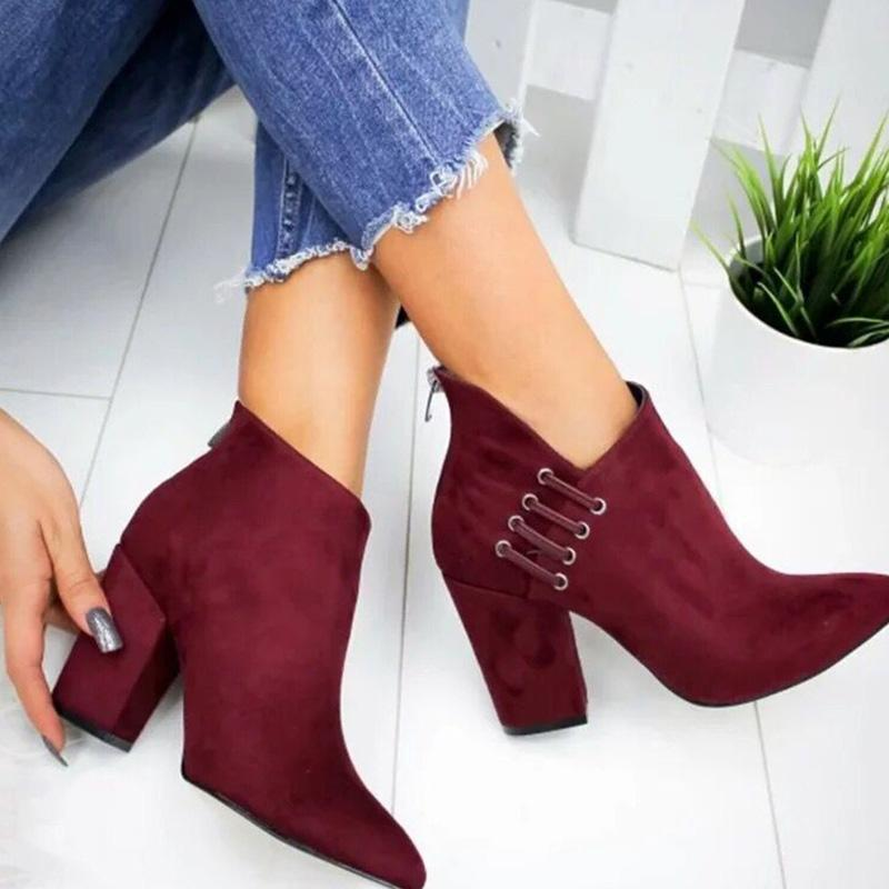 Solid Suede Cut Out High Heel Short Boots
