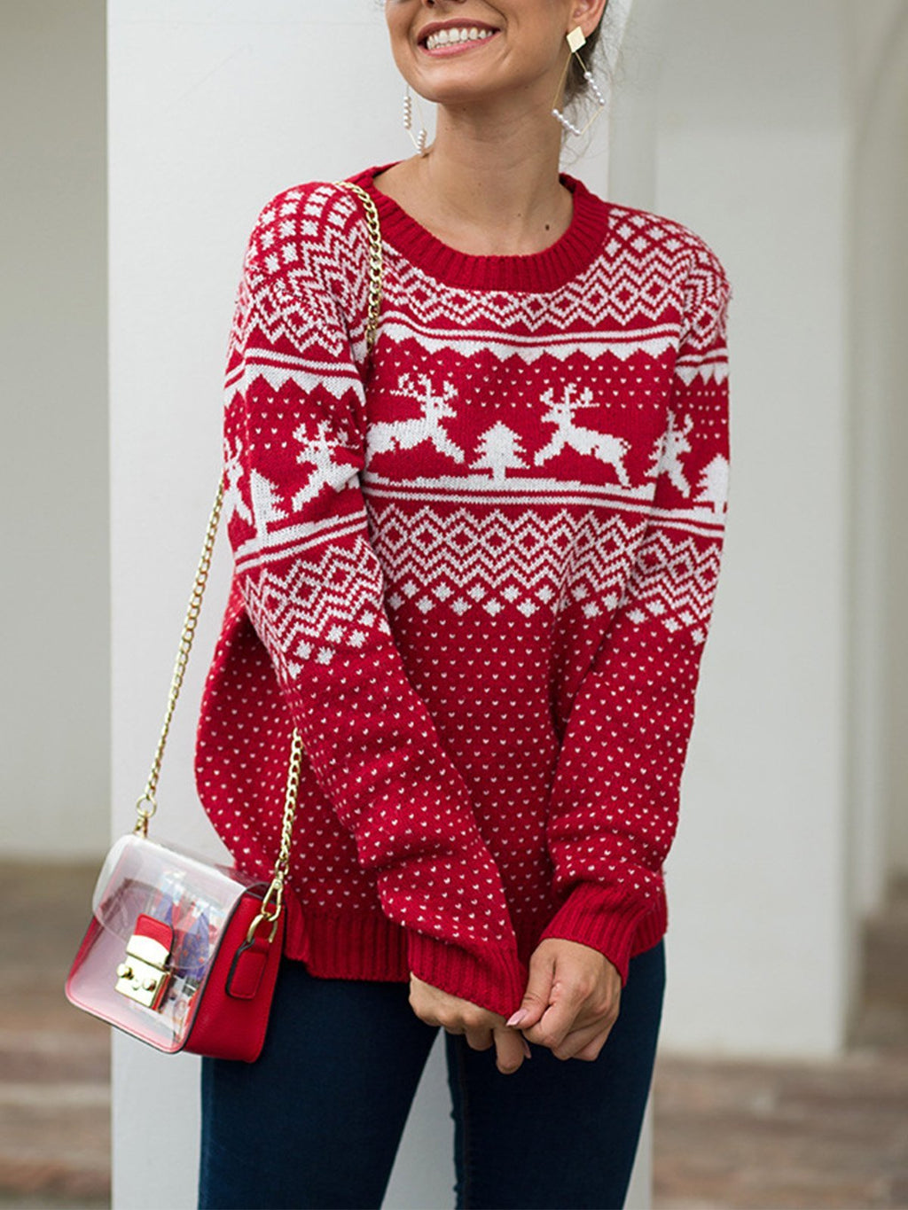 Christmas Style Deer Round Neck Long-Sleeved Pullover Sweater