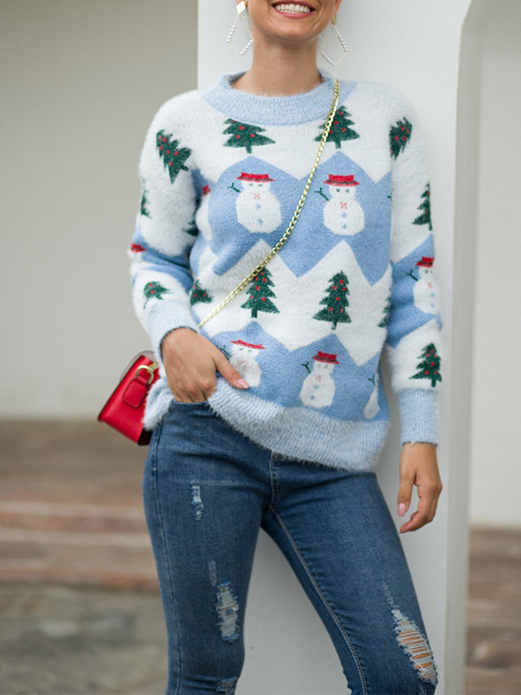 Christmas Snowman&Tree Pattern Pullover Sweater