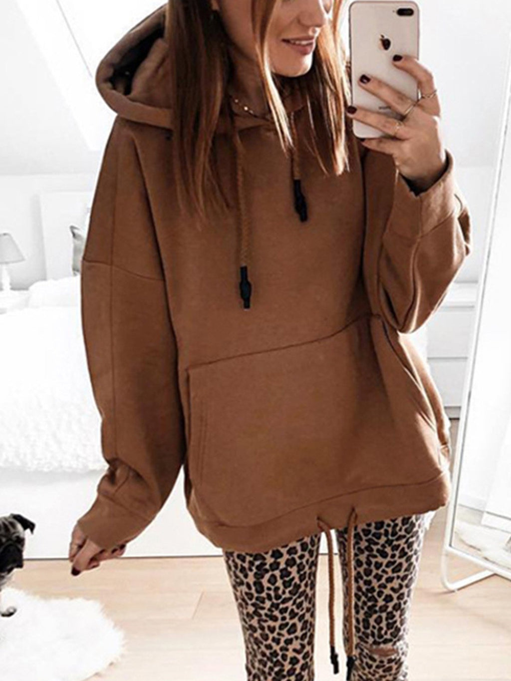 Solid Plain Long Sleeve Hoodie with Front Pocket