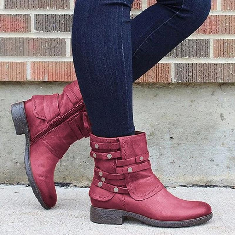 Rivets Casual Vintage Zippered Ankle Boots