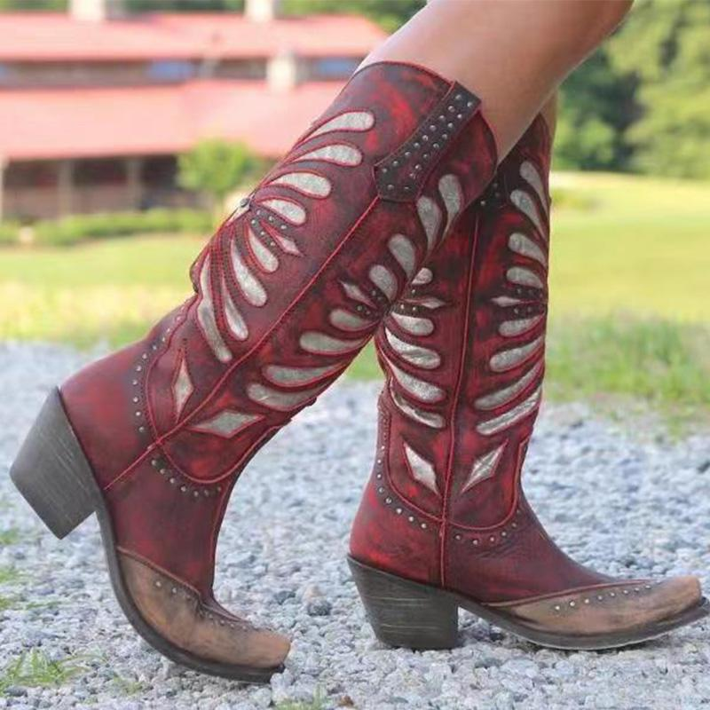 Vintage Carved Printed Chunky Heel Boots