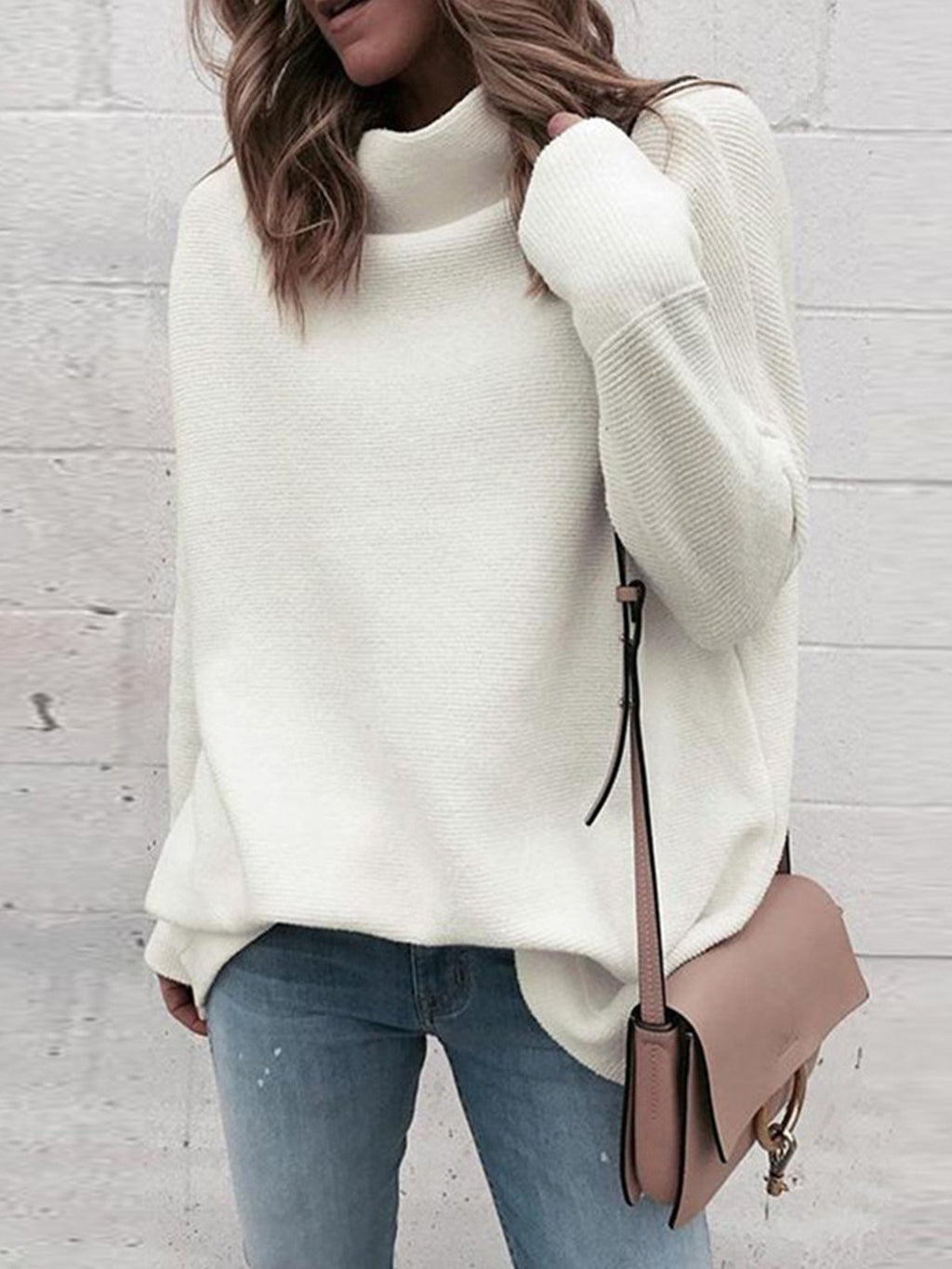 Solid Turtle Neck Long-Sleeved Loose Comfy Sweater