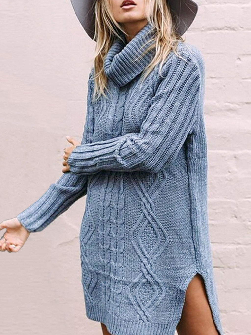 Twist Knit Turtle Neck Solid Long Slit Hem Sweater