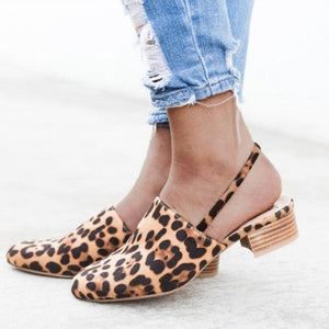 Women's PU Square Toe Low Chunky Heel Sandals