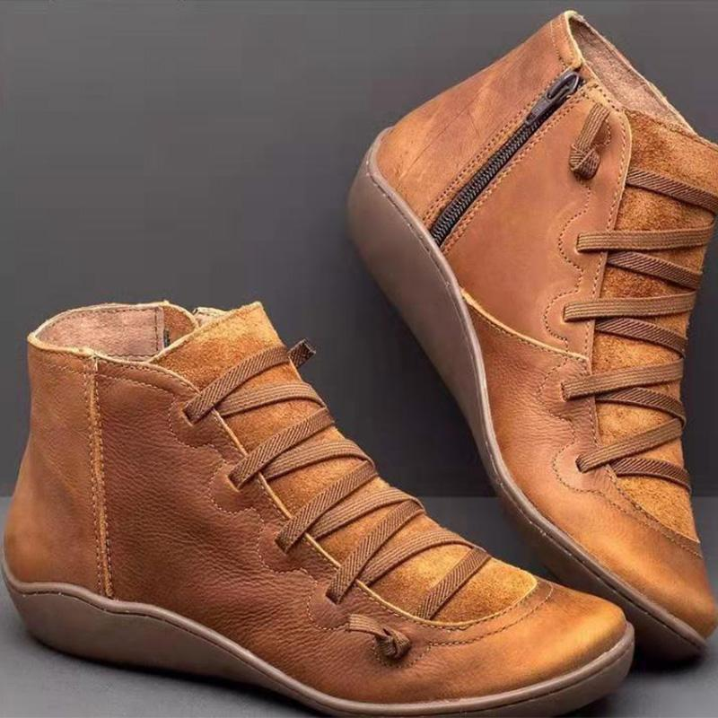 Women Crisscrossed Side-Zipper Comfy Casual High-Tube Ankle Boots