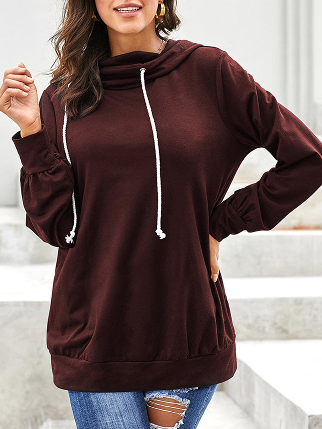 Solid Cowl Neck Drawstring Neckline Loose Thin Sweatshirt
