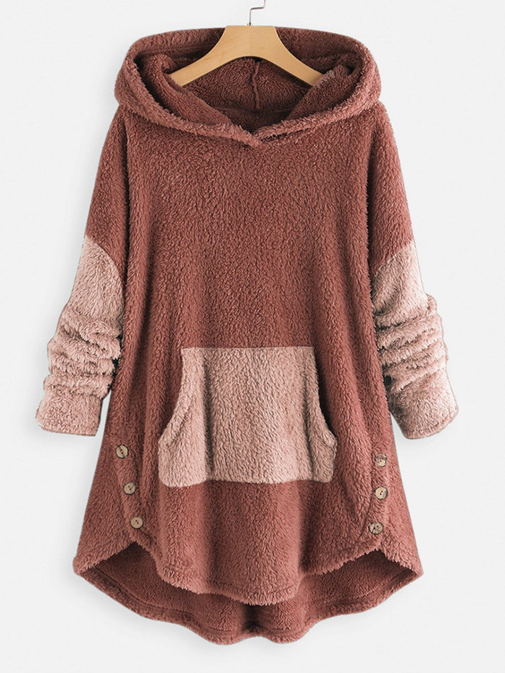 Plus Size Color Collision Fleece Buttoned Hem Hooded Sweatshirt