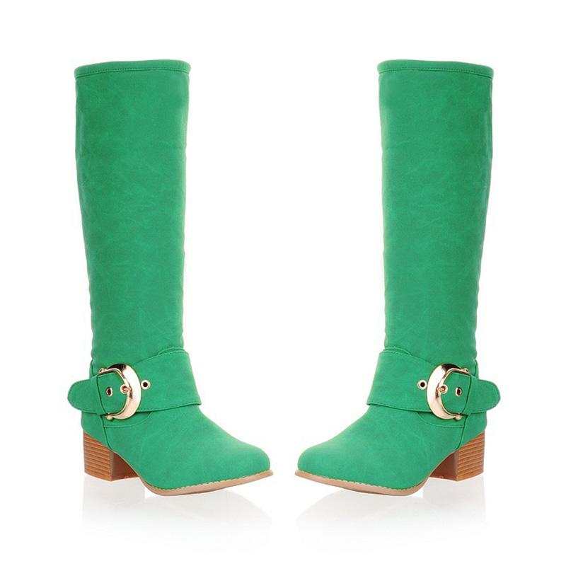 Solid Candies Color Buckle Shoes Chunky-heel Boots