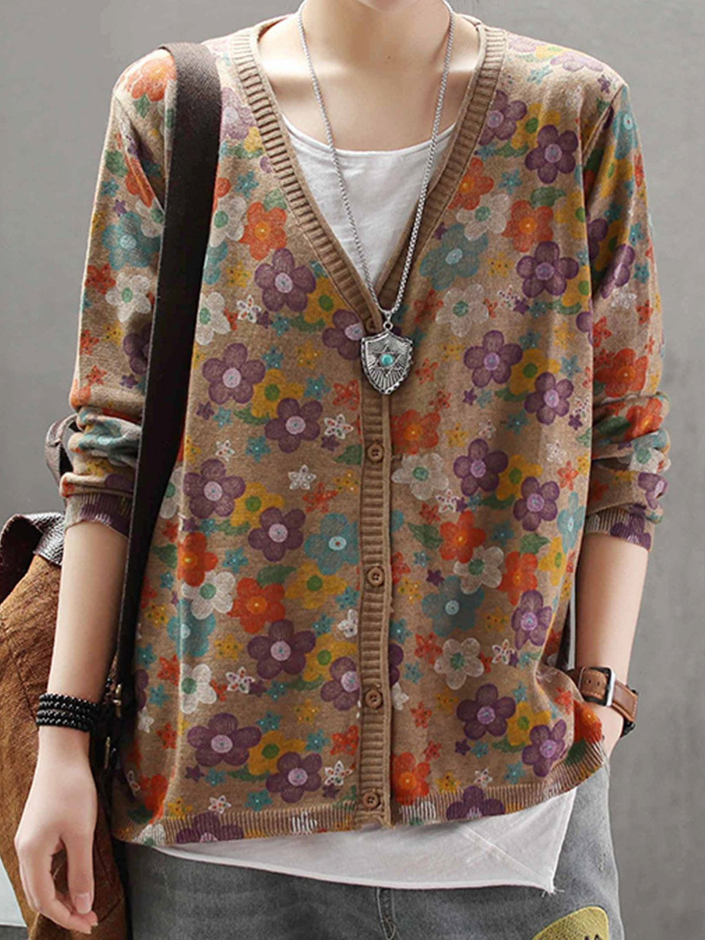 Vintage Floral Print V Neck Button-Down Cotton-Blend Cardigan