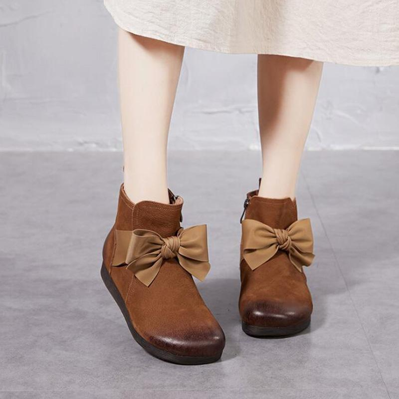 Handmade Vintage Bow Soft Bottom Leather Booties