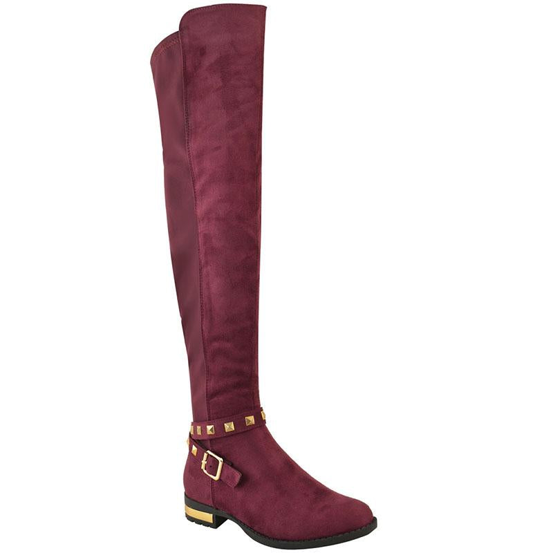 Rivets Plain Solid Women's Over-the-knee Boots
