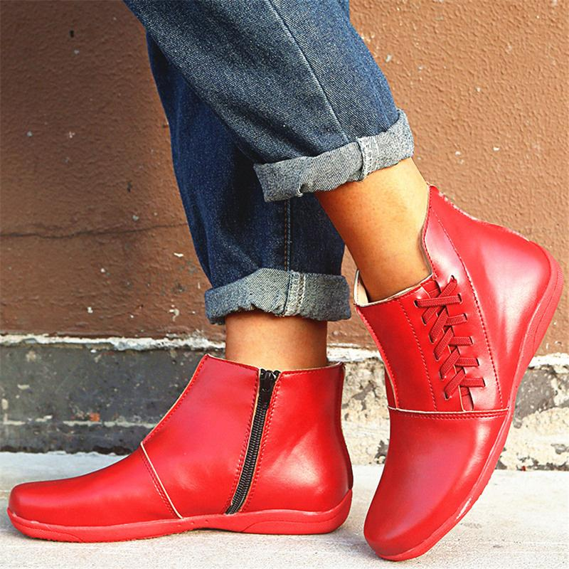 F/W Casual Vintage Round Toe Boots