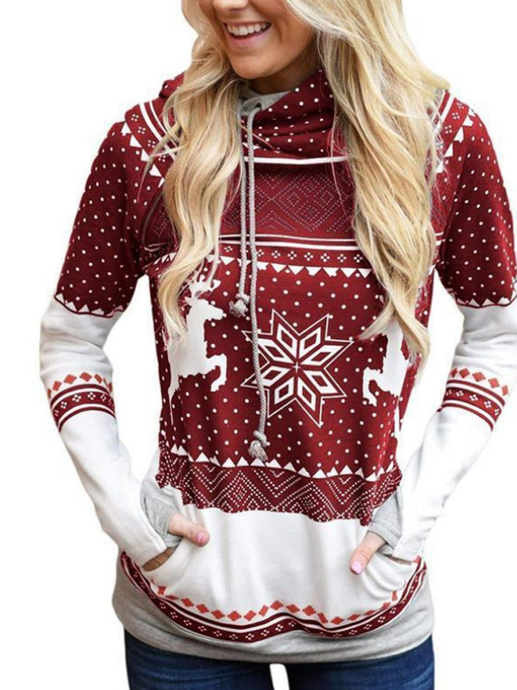 Christmas Elk Snowflake Hoodie with Long Sleeves