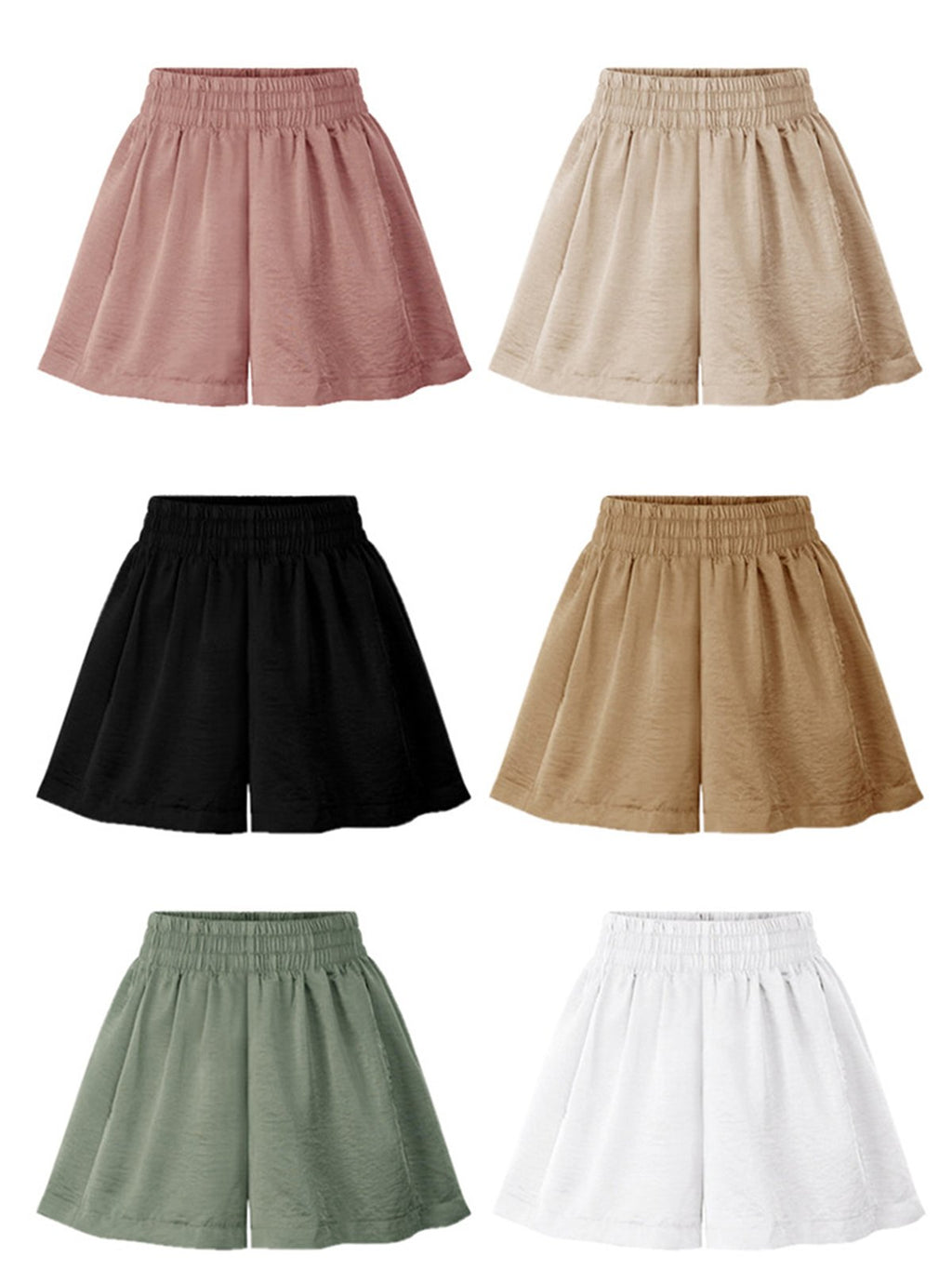 Solid High Waist Casual Plus Size Wide-leg Shorts