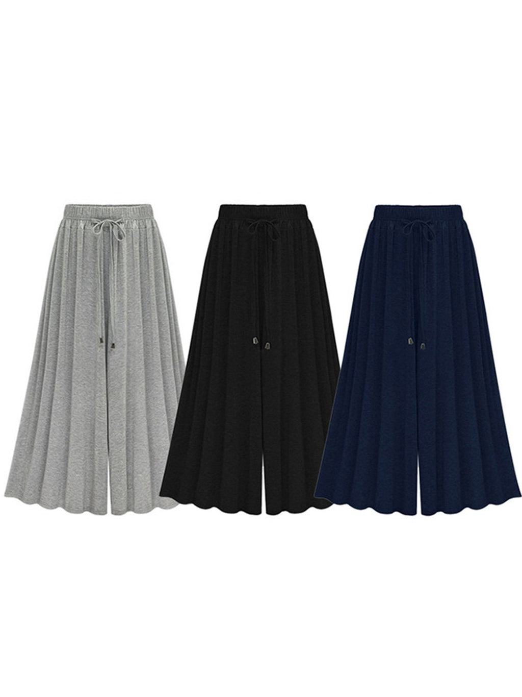 Solid High Waist Drawstring Plus Size Pleated Wide-leg Pants
