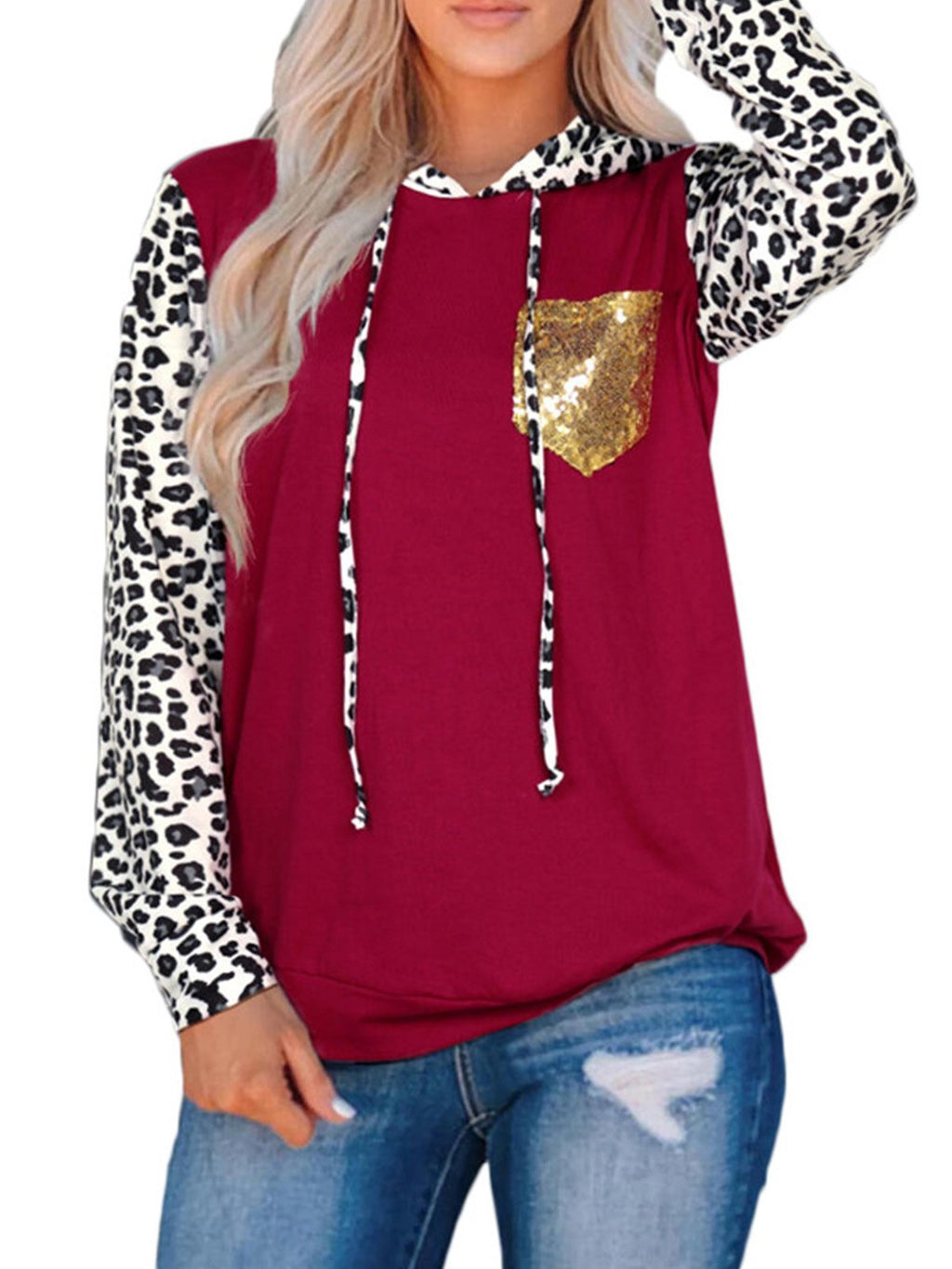 Long Sleeve Shirt with Sequin Pockets Leopard Print Sleeves