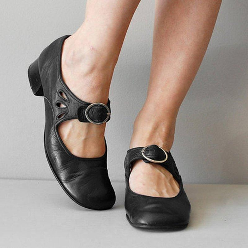 Vintage Hollow Buckle Girly Mary Jane Shoes